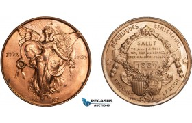 AA996, United States & France, Bronze Medal 1889 (Ø44.5mm, 66.5g) by Gorham, Washington, Republic Centenary