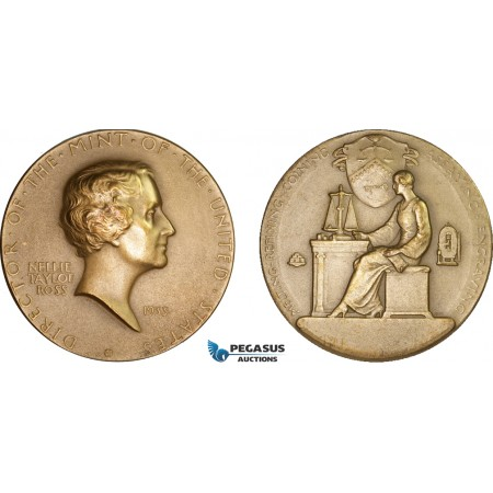 AA998, United States, Bronze Medal 1933 (Ø75mm, 210g) Nellie Tayloe Ross, Director of the Mint