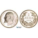 AA999, Bulgaria, Ferdinand, 2 Leva 1913, Silver, Fully Prooflike UNC, light cleaning!