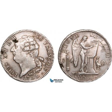 AB002, France, Louis XVI, Ecu 1792-A, Paris, Silver, Toned & Lustrous AU