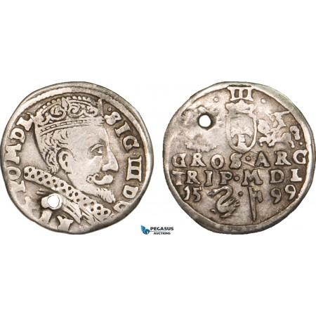 AB003, Lithuania, Sigismund III of Poland, 3 Groschen (Trojak) 1599 Swan, Vilnius, Silver (2.00g) Pierced, F-VF, Rare!