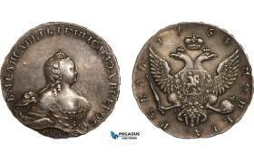 AB005, Russia, Elisabeth, Rouble 1754 СПБ-IМ, St. Petersburg, Silver (25.82g) Toned AU
