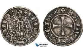 AB009, Italy, Papal, John XXII, Grosso ND (1316-34) Macerata, Silver (2.17g) Dark toning, VF, Rare!