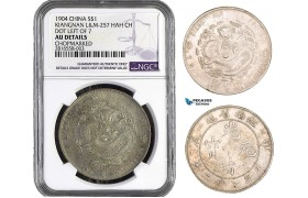 "AB014, China Kiangnan, Dollar 1904, Silver, L&M 257 HAH CH, NGC AU Det. ""Chopmark"""