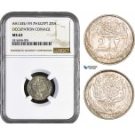 AB017, Egypt, Occupation coinage, 2 Piastres 1917-H, Heaton, Silver, NGC MS63