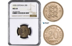 AB018, Estonia, 20 Senti 1935, NGC MS64