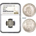 AB021, France, Louis XIII, 1/12 Ecu 1643-A (Rose) Paris, Silver, NGC MS61, Pop 1/2