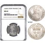 AB022, France, Louis XIV, 1/4 Ecu 1644-A (Point) Paris, Silver, NGC MS62, Pop 1/0