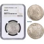 AB023, France, Louis XIV, 1/2 Ecu 1650 (9) Rennes, Silver, NGC MS63, Pop 1/0