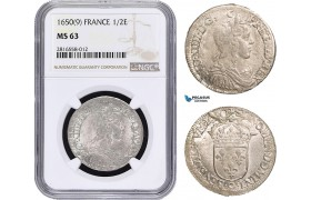 AB023, France, Louis XIV, 1/2 Ecu 1650 (9) Rennes, Silver, NGC MS63, Pop 1/0