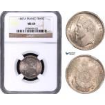 AB025, France, Napoleon III, 1 Franc 1867-A, Paris, Silver, NGC MS64