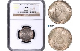 AB025, France, Napoleon III, 1 Franc 1867-A, Paris, Silver, NGC MS64
