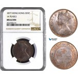 AB028, Hong Kong, Victoria, 1 Cent 1877 (14 Pearls) NGC MS62BN
