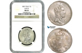 AB031, Italy, Lucca, Carlo Ludovico, 2 Lire 1837, Silver, NGC MS63