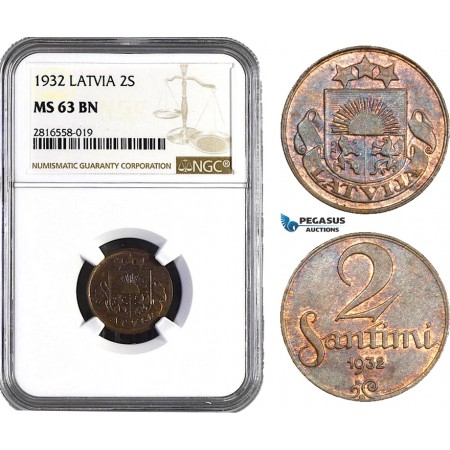 AB034, Latvia, 2 Santimi 1932, NGC MS63BN