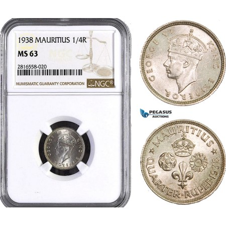AB035, Mauritius, George VI, 1/4 Rupee 1938, Silver, NGC MS63
