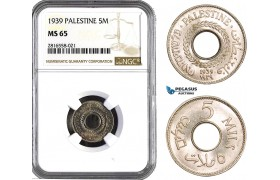 AB037, Palestine, 5 Mils 1939, London, NGC MS65