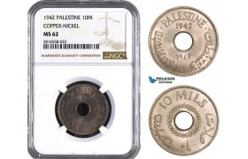 AB038, Palestine, 10 Mils 1942, London, Copper-Nickel NGC MS62