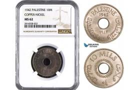 AB038, Palestine, 10 Mils 1942, London, Copper-Nickel NGC MS62