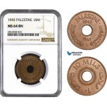 AB039, Palestine, 10 Mils 1943, London, NGC MS64BN