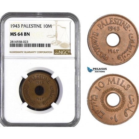 AB039, Palestine, 10 Mils 1943, London, NGC MS64BN