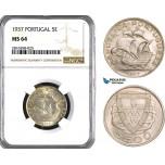 AB041, Portugal, 5 Escudos 1937, Silver, NGC MS64