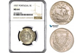 AB041, Portugal, 5 Escudos 1937, Silver, NGC MS64