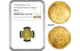 AB043, Romania, Carol I, 12 1/2 Lei 1906, Brussels, Gold, NGC MS63