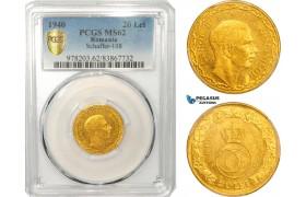 AB044, Romania, Carol II, 20 Lei 1940, Gold, PCGS MS62, Rare!