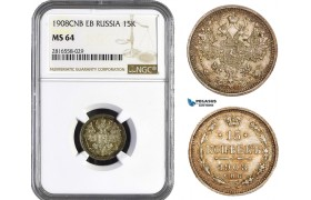AB049, Russia, Nicholas II, 15 Kopeks 1908 СПБ-ЭБ, St. Petersburg, Silver, NGC MS64