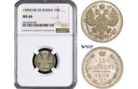 AB050, Russia, Nicholas II, 15 Kopeks 1909 СПБ-ЭБ, St. Petersburg, Silver, NGC MS66