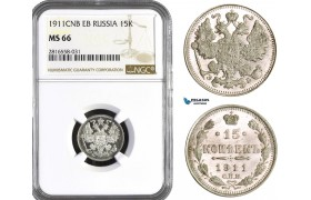 AB051, Russia, Nicholas II, 15 Kopeks 1911 СПБ-ЭБ, St. Petersburg, Silver, NGC MS66
