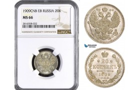 AB053, Russia, Nicholas II, 20 Kopeks 1909 СПБ-ЭБ, St. Petersburg, Silver, NGC MS66