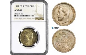 AB054, Russia, Nicholas II, 50 Kopeks 1911 (ЭБ) St. Petersburg, Silver, NGC MS64+, Rare!