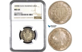 AB056, San Marino, 1 Lira 1898-R, Rome, Silver, NGC MS64