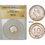AB059, Sarawak, C. Brooke Rajah, 10 Cents 1900-H, Heaton, Silver, ANACS MS61