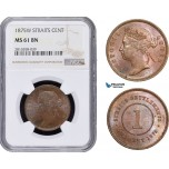 AB062, Straits Settlements, Victoria, 1 Cent 1875-W, NGC MS61BN