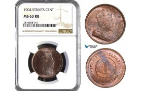 AB064, Straits Settlements, Edward VII, 1 Cent 1904, NGC MS63RB
