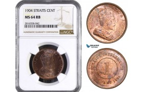 AB065, Straits Settlements, Edward VII, 1 Cent 1904, NGC MS64RB