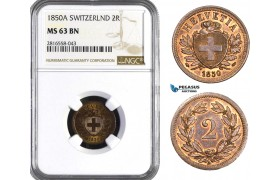 AB066, Switzerland, 2 Rappen 1850-A, Paris, NGC MS63BN