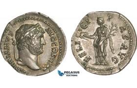 AB069, Roman Empire, Hadrian (117-138 AD) AR Denarius (3.18g) Rome, 134-138 AD, Felicitas, Fine Style, Patina!