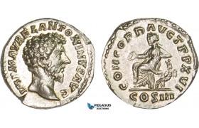 AB071, Roman Empire, Marcus Aurelius (161-180 AD) AR Denarius (3.43g) Rome, 162 AD, Concordia, Lustrous aUNC