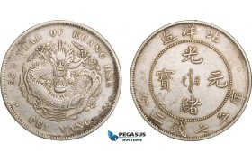 AB076, China, Chihli, 7 Mace 2 Candareens (Dollar) Year 29 (1903) Tientsin, Silver, L&M 462, Cleaned XF-AU