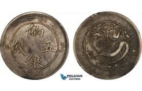 AB082, China, Sinkiang, 5 Miscals ND (1905) Silver, Y6.1, Dark toning, aVF