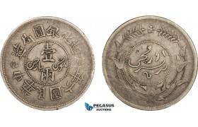 AB083, China, Sinkiang, 1 Sar ND (1917) Silver, Y45, Dark toning, aVF