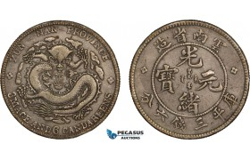 AB084, China, Yunnan, 3 Mace 6 Candareens (50 Cents) 1907, Silver, L&M 419, Dark Toning, VF-XF