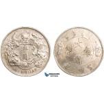 AB087, China, 1 Dollar Yr. 3 (1911) Silver, L&M 37 (No Period) Cleaned XF