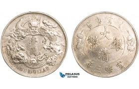 AB087, China, 1 Dollar Yr. 3 (1911) Silver, L&M 37 (No Period) Cleaned XF
