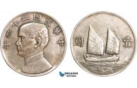 AB088, China, Junk Dollar Yr. 22 (1933) Silver, L&M 109, Toned AU