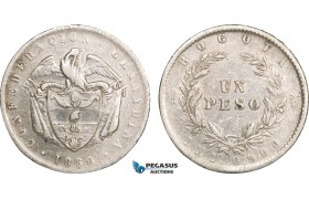 AB093, Colombia, 1 Peso 1860, Bogota, Silver, Cleaned F-VF